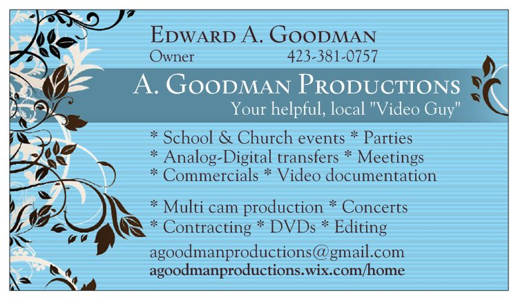 A. Goodman Productions business card