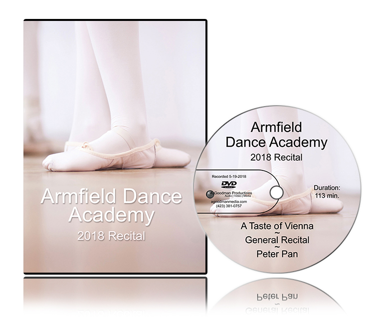 'Armfield Dance Academy 2018 Recital' DVD cover and disc